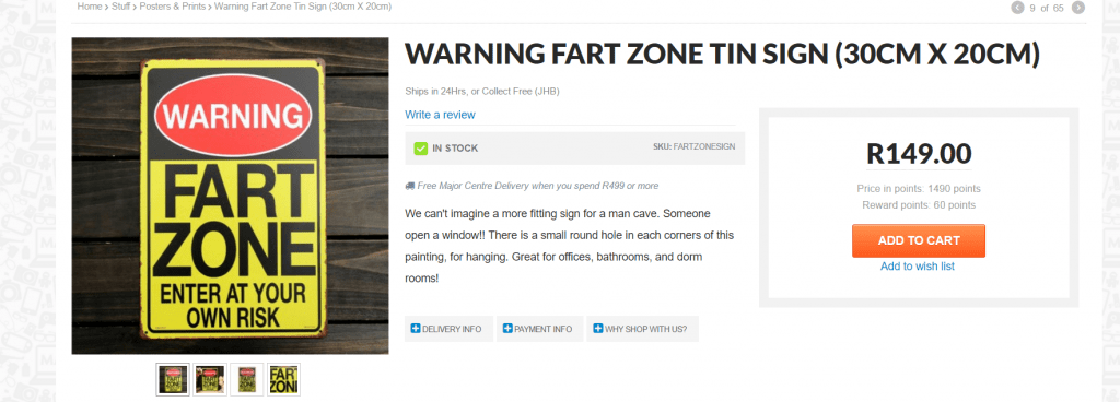 Mantality Fart Zone warning sign