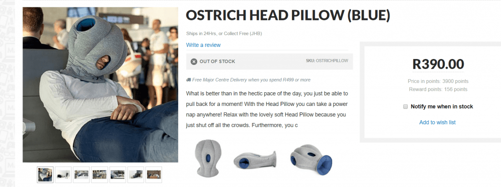 Mantality Ostrich Head Pillow