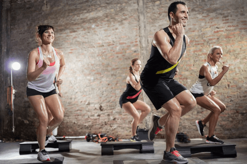 Step aerobics cardio exercises