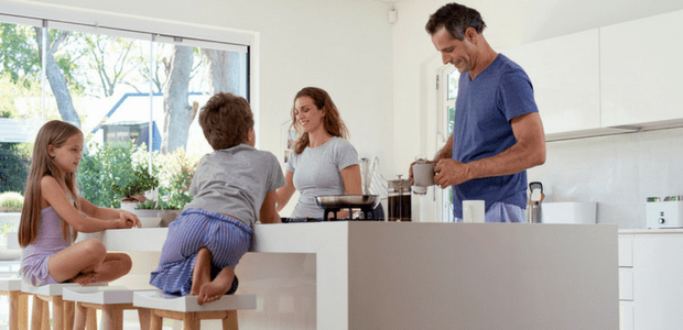 Tidy kitchen with young kids