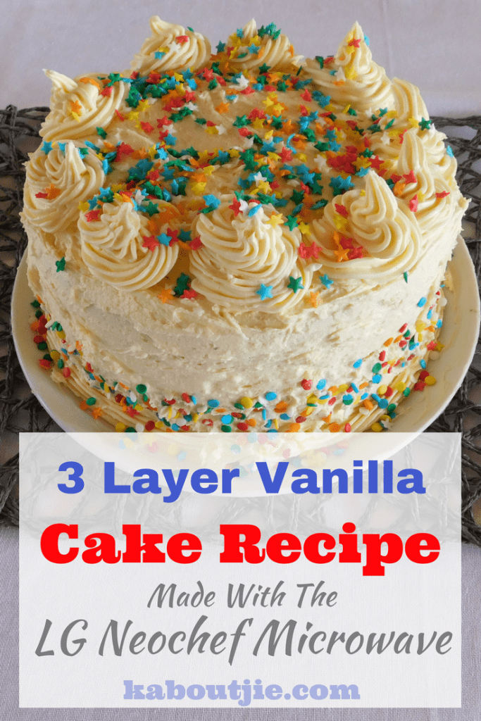 3 Layer Vanilla Cake Recipe Made in The LG Neochef Microwave