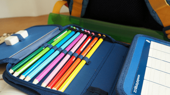 Pencil Crayons and School Bag