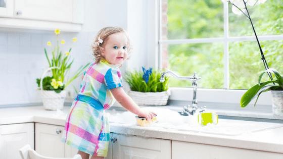 Toddler Girl Doing Chores