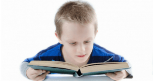 Boy reading book with green cover