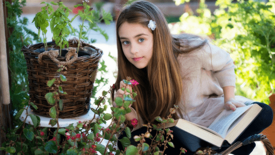 Tween girl reading