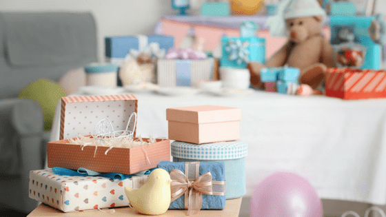 Baby shower gifts on table