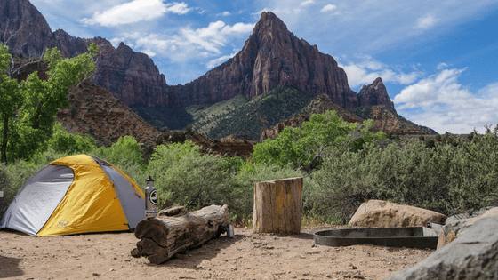 Camping site by mountain