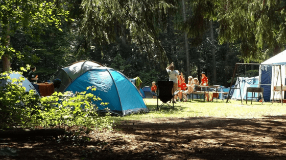 Families camping tents