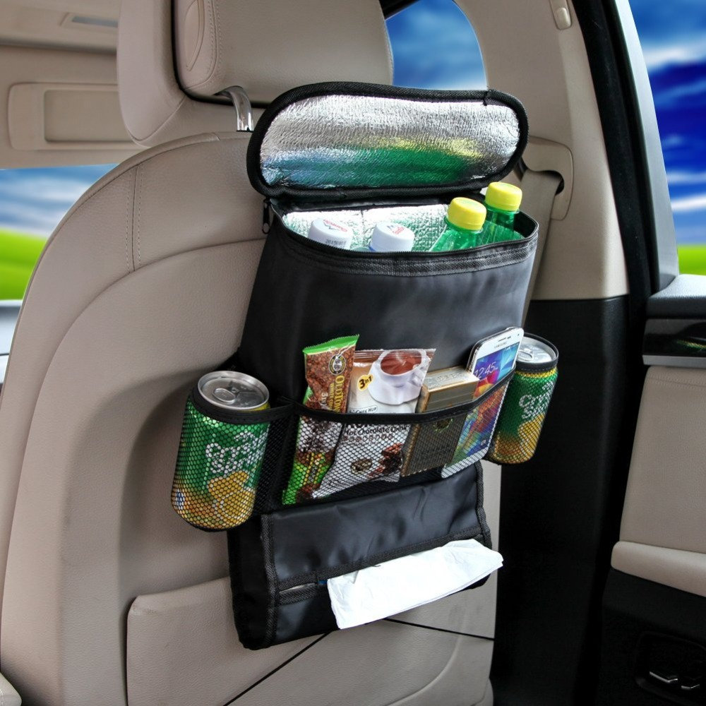 Back car seat organizer with cooler bag