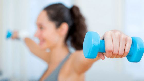 Woman dumbells
