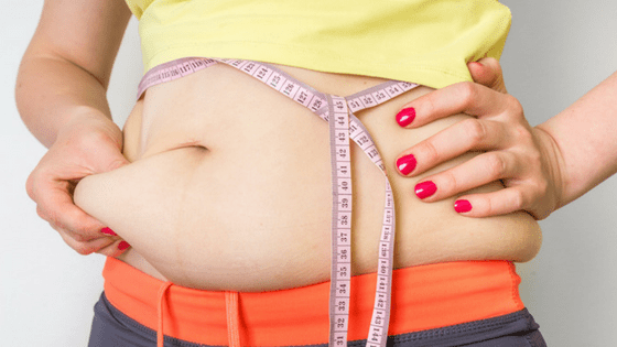 Woman Tape Measure around belly