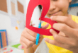 Kids Activity cutting out paper heart
