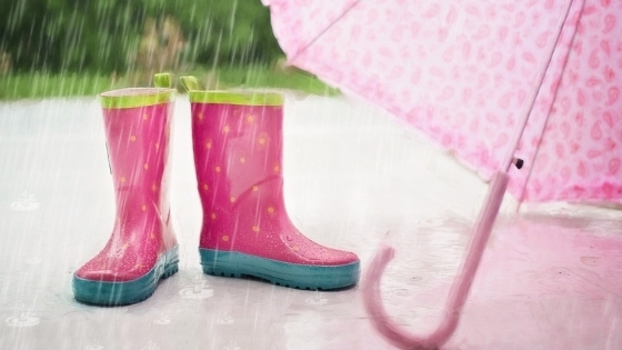 Pink and blue rainboots