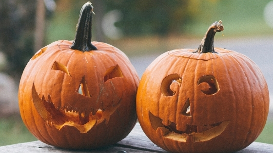 Two Halloween Carved Pumpkins