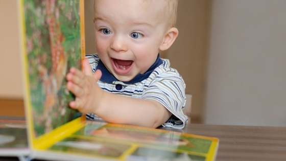 Boy Excited By Book