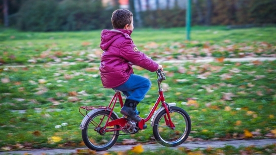 Kid boy riding bicycle