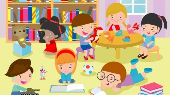 Kids reading playing