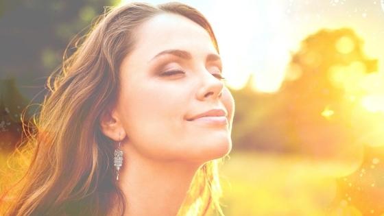 Woman face in sun