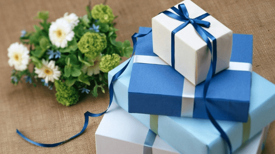 Blue wrapped gifts