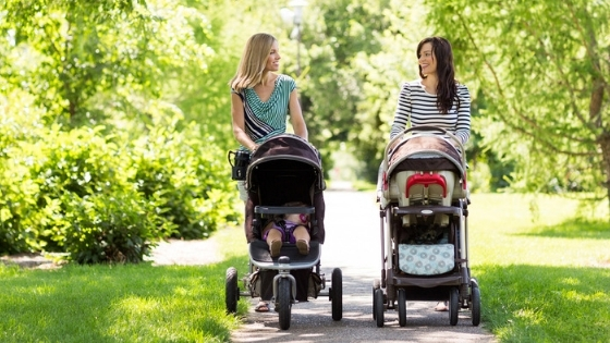 Women with strollers