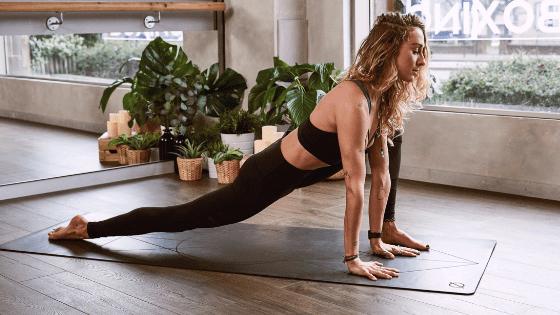 Woman yoga stretch