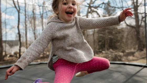 Girl laughing trampoline