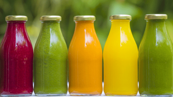 Colourful bottles of juice