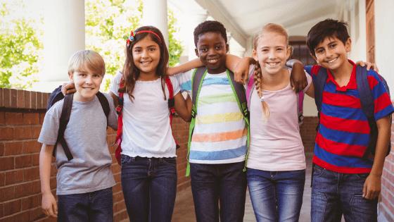 School kids smiling