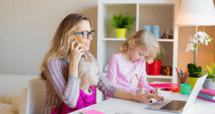 Mom working from home with kids