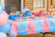 Table at gender reveal party