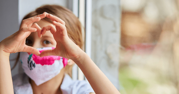 Kid wearing face mask new normal