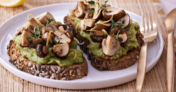 Wholewheat Toast With Guacomole and Lemony-Fried Mushrooms