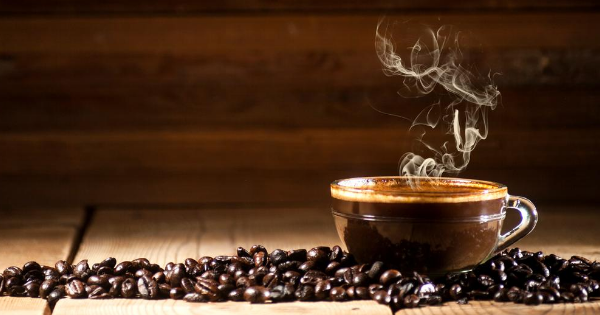 Steaming coffee and beans