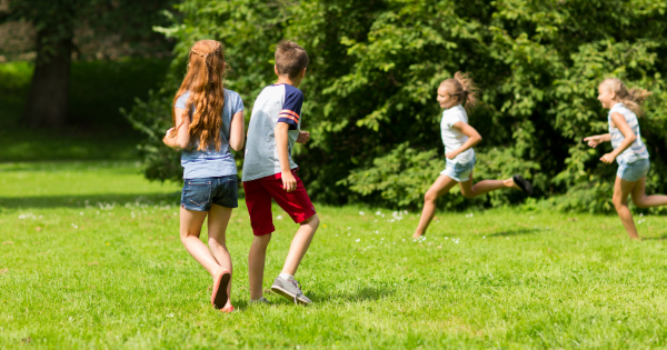 Group kids playing summer