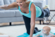 Mom exercising with baby yoga
