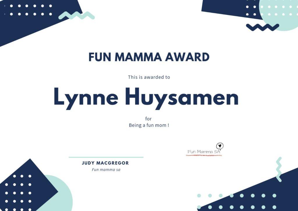 Fun Mamma SA fun mom certificate Lynne Huysamen