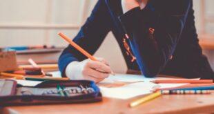 Kid doing school work