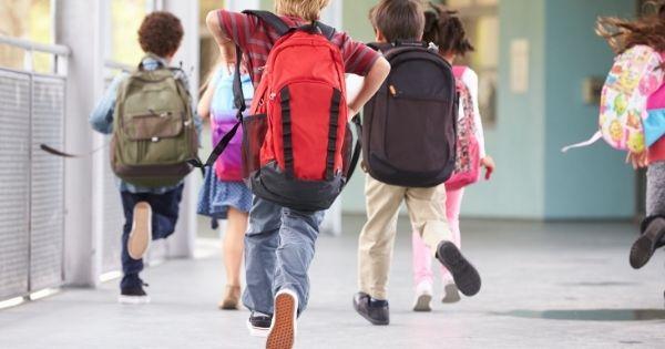 Kids Running Through Scho9ol