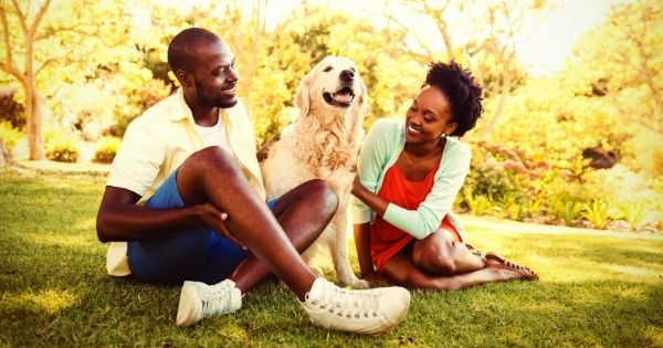 Couple in sunshine with dog