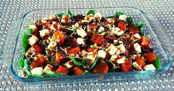 Fully loaded butternut and spinach salad
