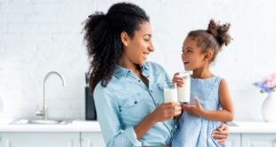 Mother daughter drinking milk