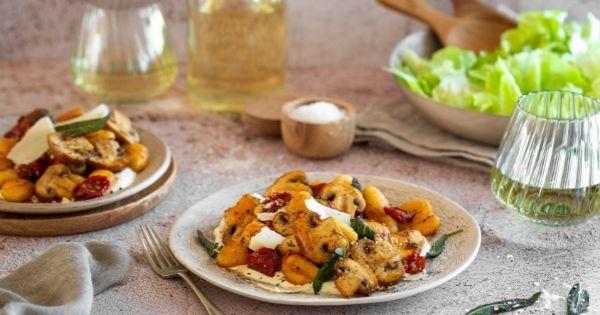 Crispy Gnocchi with Mushrooms & Paprika Butter